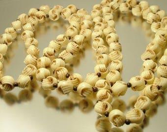 Vintage/ estate 1950s /60s cream brown plastic bead, long length  costume necklace - jewelry jewellery UK seller
