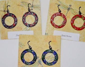 Hand-painted Arte Metal Berry Wheel Earrings, 1 Pair (Select Color - Only one of each available)