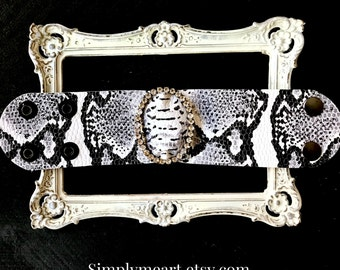 Embossed Leather Faux Snake Skin Cuff Accented with Vintage Rhinestone Buckle... Wild At Heart Nine