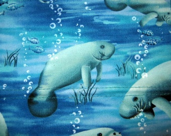 Manatee Cotton Checkbook Cover