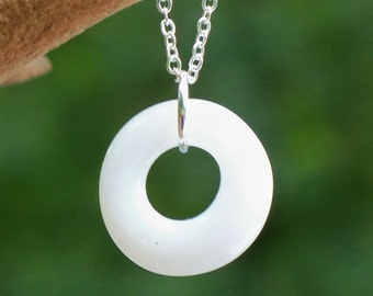 Recycled Vintage White Pond's Cold Cream Jar Glass Hoop Necklace/White Necklace/Hoop Jewelry/Vintage Repurposed/Upcycled Recycled/Bride