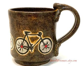 Bicycle Mug Ceramic Stoneware Handmade Temmoku Brown with Red Dots Made to Order Great for Father's Day MG0068