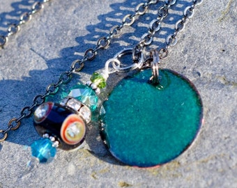 Copper Enamel Pendant Lampwork Bead Necklace Green Disc