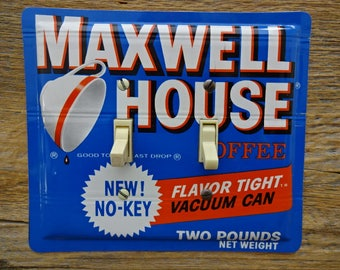 Double Switchplates For Antique Home Decor Light Switch Cover Plate Made From An Old Maxwell House Coffee Tin Can SP-0105