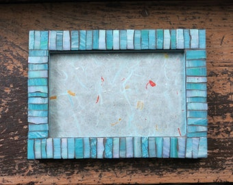 Striped Ice Blue Picture Frame 4x6