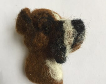 Needle Felted Boxer Dog Brooch - Buster