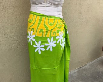 Lime green, yellow and white tattoo tiare premium Tahitian pareo, full or half sized sarong, Polynesian dance costume