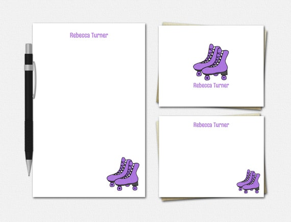 Personalized Roller Skate Stationery Set - Custom Roller Skate Stationery - 50 Color Choices - Stationery for Girls Roller Skate Stationary