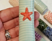 Magnetic Pottery Bud Vase and Pen Holder - Porcelain Bud Vase --Aqua Blue with red and white starfish