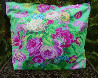 Green Floral large zippered purse, project bag, shoulder bag, cross body bag, Kaffe Fassett Floral Delight, The Britta