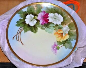 Vintage Antique Austria Porcelain Hand Painted Floral Plate with Gold Edge