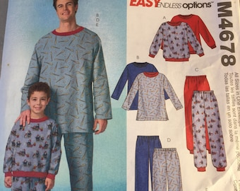 McCall's M4678 matching mens' sons' childrens' pajama pattern uncut