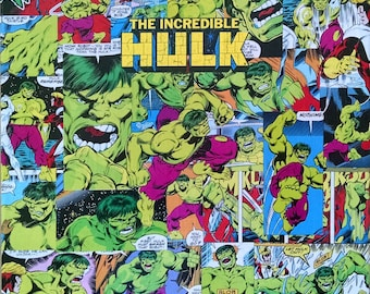 Incredible HULK Decoupage Comic Collage Canvas