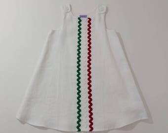 Toddler Girls' Dress, White Linen Dress with Green, White & Red Center Rickrack Detail,  Italian Flag Dress, Size 4T