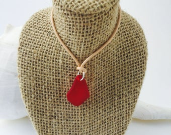 Red Sea glass necklace -beach glass necklace -Seaglass jewelry -beach wedding jewelry -Seaglass necklace -boho style jewelry - boho necklace