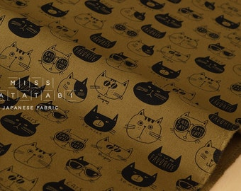Japanese Fabric Kokka Trefle Our Favorite Cats - earth - fat quarter