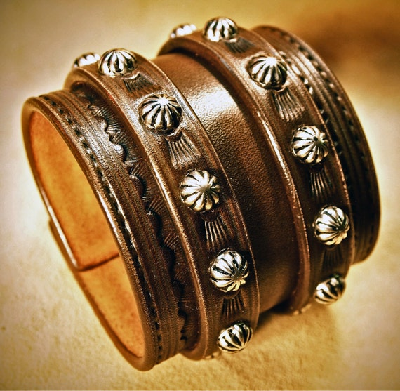 Leather Wrist Cuff Saddle BrownTraditional American Cowboy ROCKSTAR Bracelet made for YOU in NYC by Freddie Matara