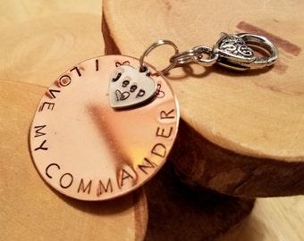 COMMANDER Jeep Legacy line hand stamped copper keyfob keychain OIIIIIIIO