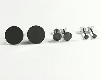 Oxidized Sterling Dot Post Earrings in 3 Sizes