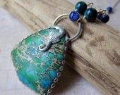 Tidepool - Ocean Jasper Pendant with Seahorse and Dichroic Glass