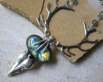 The Phantom Queen - Morrigan Talisman Necklace with Crow Skull and Amber Labradorite