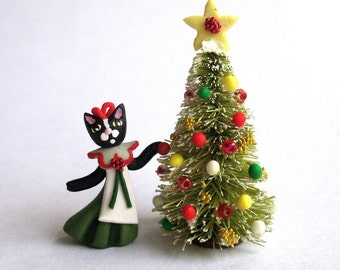 Handmade Miniature Sweet Miss Kitten Cat Decorating Christmas Tree by C. Rohal