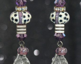 Purple SKULL Lampwork bead Swarovski Crystal Dangle LIGHTWEIGHT Earrings