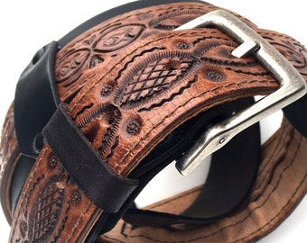 Tooled Leather Guitar Strap with Comfort Pad and Hidden Compartment, Black & Brown, EcoFriendly, Adjustable, Reclaimed Leather, Unique, OOAK