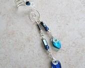 ON SALE Celtic Ear Cuff Moonlight Bower Blue 2 in 1 Dangle