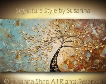 ORIGINAL Large Abstract Contemporary Twisted Tree Painting with a twist Textured Modern Palette Knife Cherry Blossom by Susanna 48x24