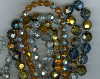 Glass Beads Mix, Big Bag O Glass Faceted Beads 10mm, 8mm, 6mm Gold Silver Yellow 4104