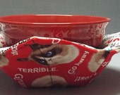 Microwave Bowl Cozy or Potholder Grumpy Cat Fabric