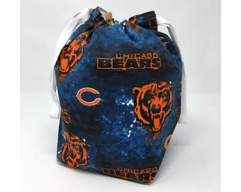 MOVING SALE - Chicago Bears Drawstring Knitting Project Bag