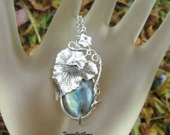 Blue Labradorite Sterling Silver Leaves Pendant Necklace