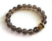 Little Luxe Simple Stacking Stretch Bracelet in Smoky Quartz and 22kg Vermeil...