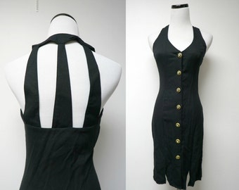 Nicole Elizabeth . 90s cut-out back . little black dress . size 3 / 4 . made in USA