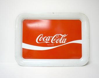 RARE!   Coca-Cola® . red and white . tin tray