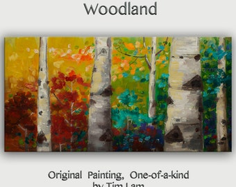 """Tree Painting Changing Season Woodland Modern Art  Original 48"""" landscape painting acrylic painting on canvas by tim lam"""