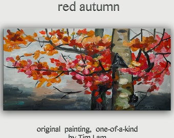 "Art Painting Abstract Painting Original modern Autumn Color tree art 48"" landscape painting on gallery canvas by tim lam"