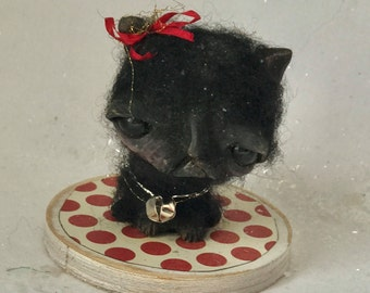 Christmas Black kitty cat Ooak   art doll