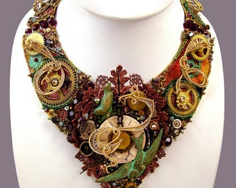 Steampunk Necklace - Steampunk Jewelry - Steam Punk jewelry - bib necklace - burning man costumes post apocalyptic clothing fallout cosplay