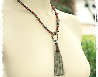 Tassel necklace, Bohemian necklace pendant for women, Beaded necklace tassel, Short boho necklace, Rustic bohemian necklace, Layered jewelry