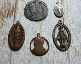 Vintage Destash Group of Well Loved, Worn Religious Medals, Saint Anthony, Blessed Virgin, Miraculous Medal, and Two Scapulars, Mixed Metal