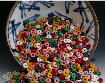 SALE Naos 50 beads 8mm Candy Shop Assortment Spacers Mykonos Greek Ceramic Beads Rondelles Disks Donuts