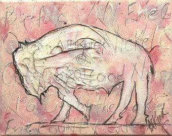 Original Painting - Buffalo Painting - Orignal Art - Bison painting - Pink Buffalo Painting - Buffalove - Buffalo NY Wall Art - Buffalo Gift