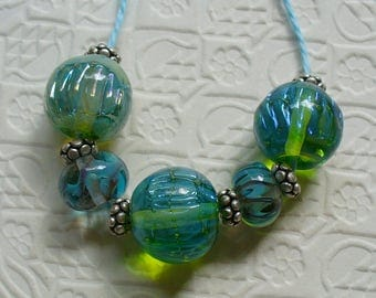 SRA Lampwork Handmade Glass Beads by Catalinaglass Ripple Rounds