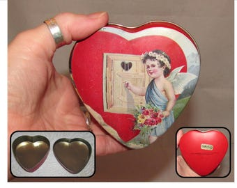 Vintage Collectible Heart Shaped Tin Box by Enesco, 1983, Valentines Cupid