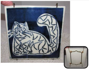 Vintage Blue & White Abstract Kitty Cat Tile Trivet Wall Plaque, kitchen art