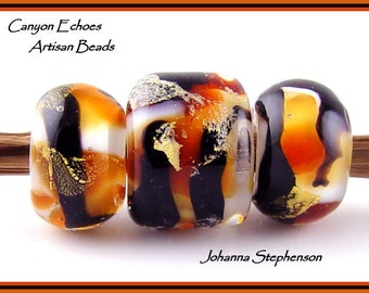 BIG HOLE Golden Tiger Lampwork Bead Set SRA