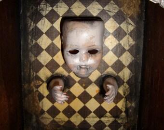 Haunted Doll Box -  Creepy Horror Gothic Handmade Folk Art Primitive Doll Decoration